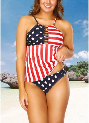 Plus Size Stars Stripes Print Hollow Out Front Sexy Bikini Set_1