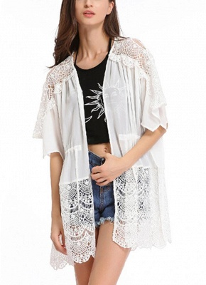 Lace Detailed Chiffon Cover Up Kimono_1