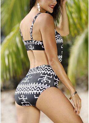 Women Print Two Piece Swimsuit Padding Wireless Bodycon Beach Bathing Swimwear_4