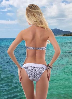 Women Halter Wire Free Padded Cup Low Waist Thong Biquini Print Sexy Bikini Set_3
