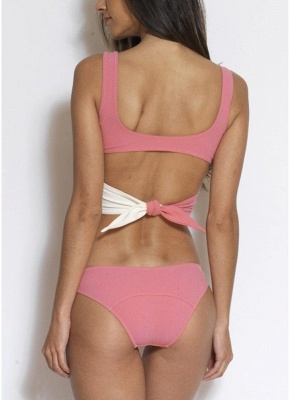 Contrast Color Patchwork Wrap Front Tied Sexy Bikini Set_3