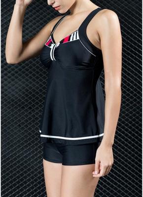 Women Two Piece Swimsuit Tankini Set Contrast Color Vest Bottom Swimwear_4