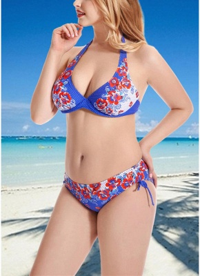 Women Plus Size  Sexy Bikini Set Halter Bandage Underwire Swimsuit Two Piece_5