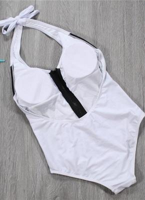 Women Black White Monokini Solid Hatler Front Zip Backless Swimsuit_4