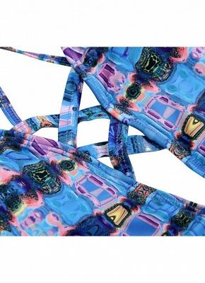 Backless Plaid Swimwear Criss Cross Bandage Bathing Suit_6