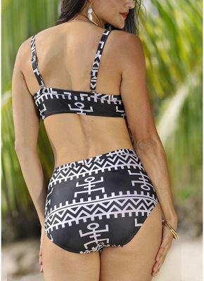 Women Print Two Piece Swimsuit Padding Wireless Bodycon Beach Bathing Swimwear_5