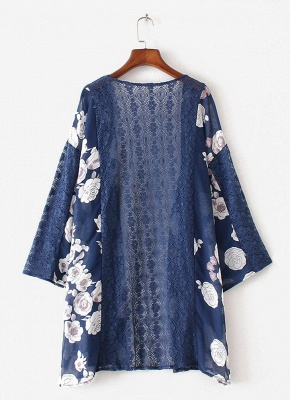 Summer Chiffon Cardigan Floral Print Hollow Out Women's Kimono_4