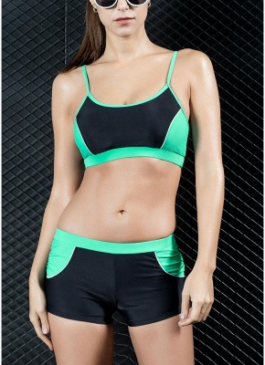 Sports Splicing Professional Racing Two Piece Swimsuit_4