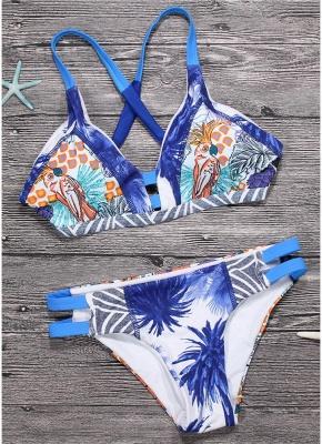 Women Brazilian Sexy Bikini Set Swimsuit Printed  Cut Out Bandage Padded Beach Wear Swimwear_1