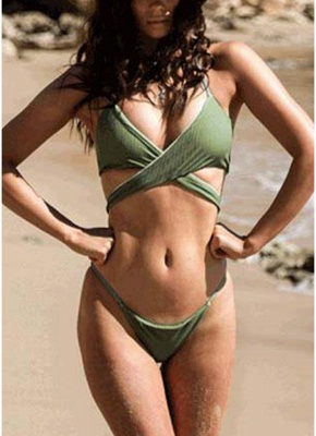 Women Sexy Bikini Deep V Halter Cross Low Waist Two Piece_3