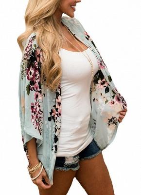 Summer Women Floral Chiffon Cardigan Open Front Half Sleeve Kimono_3