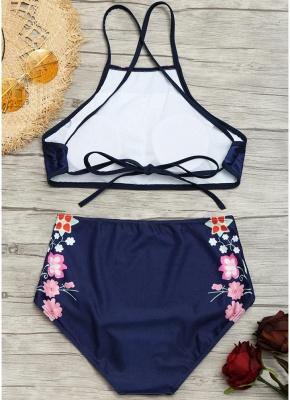 Women Floral Sexy Bikini Set Strappy Backless Padding High Wasit_6