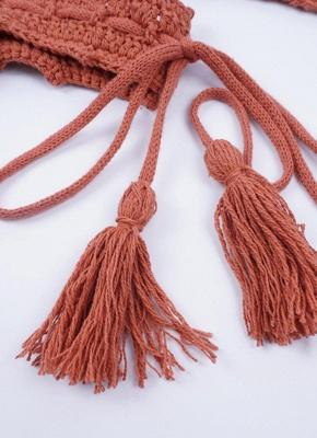Crochet Knit Beads Halter Bandage Sexy Bikini Set_7
