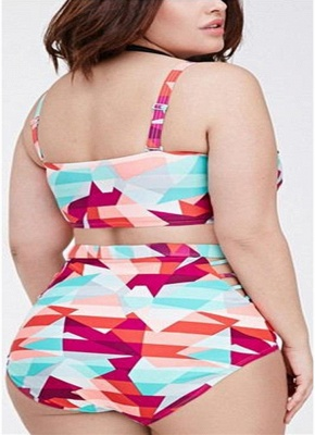 Plus Size Geometric High Waist Sexy Bikini Set_4