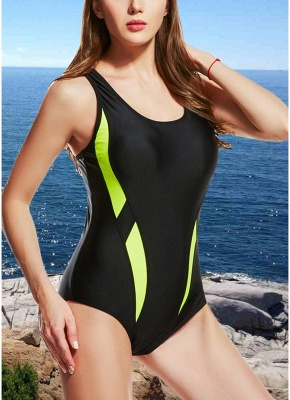 Women One-Piece  Color Splice Sleeveless Padding Wireless Swimwear Swimsuits_2