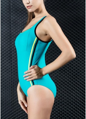 Women Sports One Piece Swimsuit Swimwear Backless Splice Racing Training Bathing Suit_4
