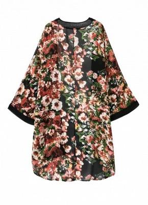 Vintage Floral Print Long Bat Sleeves Chiffon Kimono Blouse_3