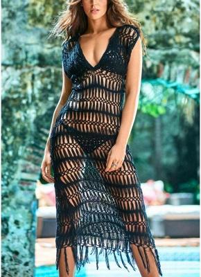 size Women Hollow Sexy Bikini Cover Up Dress Crochet Fringes Tassels Swimwear Beachwear_2