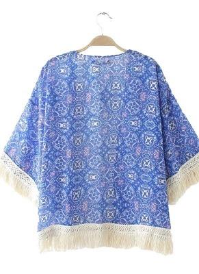 Vintage Retro Print Tassel Fringe Sheer Chiffon Blue Kimono_4