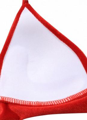 Solid Velvet Triangle Halter Bandage Push Up Sexy Bikini Set_6