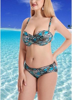 Plus Size Printed Retro Big Breast Sexy Bikini_4
