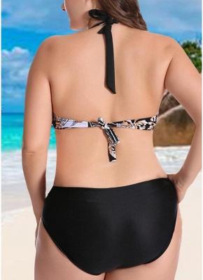 Plus Size Contrast Print Sexy Bikini Set_4