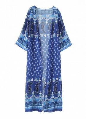 l Print Chiffon Open Front Three Quarter Sleeve Long Kimono_3