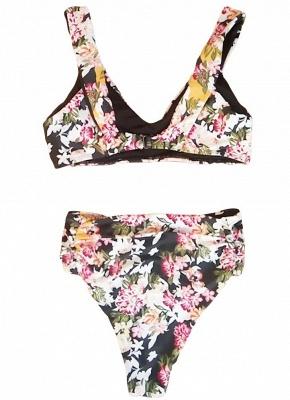 Women Flower Sexy Bikini Set V-Neck Sleeveless Padding Print Bathing Beach Swimwear Swimsuit_4