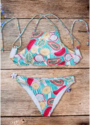 Women Fruit Printed Sexy Bikini Set Halter Swimsuit Padded Two Piece Swimwear fr_1