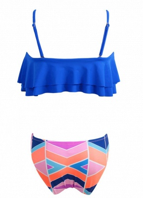 s Removable Strap Ruffled Padded Top Geometric Print Bottom Bandeau Sexy Bikini_6