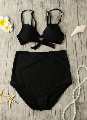 Solid Color Tie Back Underwire High Waist Sexy Bikini Set_4