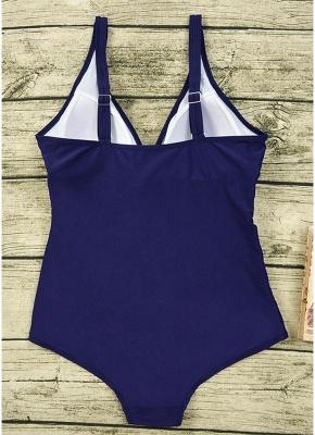 Women Plus Size One Piece Swimsuit Vintage Print Padded Monokini  Swimwear_7