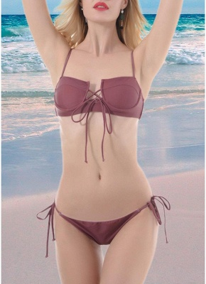 Women Lace Up Front Two Piece Sexy Bikini Set Solid Swimsuit Push Up Bra Tie Sides Swimwear_1