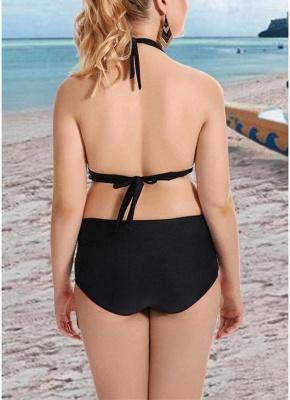 Plus Size Solid Halter Push Up Underwire Sexy Bikini Set_7