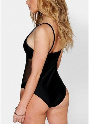 Solid Sheer Mesh Splicing V Shape Spaghetti Strap Backless One Piece Swimsuit_3