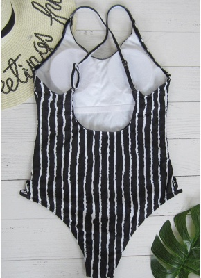 Striped Print V Neck Hollow Out Waist Cross Straps Padded Women Swimsuit_3