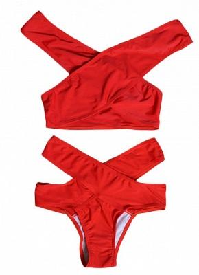 Women Sexy Bikini Set Cross Over Wireless Solid Swimwear Swimsuits Beach Wear Two Piece_5
