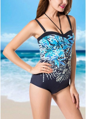 Plus Size Print Halter Backless Sleeveless Strappy One Piece Swimsuit_5
