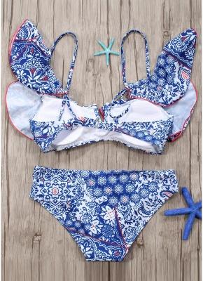 Women Sexy Bikini Set Ruffles Vintage Print Cut Out Bottom Low Waist Padded Two Piece Swimsuit_4