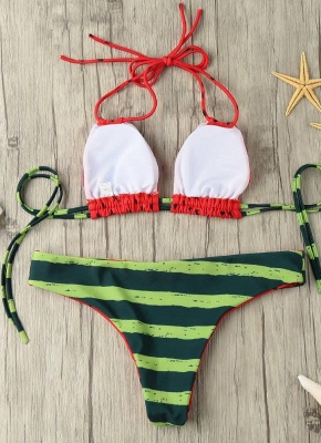 Halter Watermelon Print Padded Wireless Women's Sexy Bikini_4