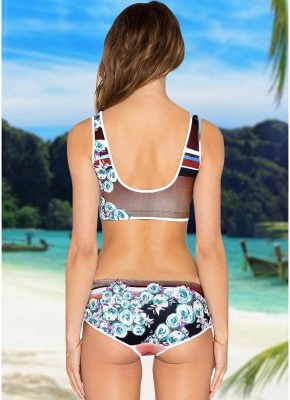 Women Sexy Bikini Set Floral Geometric Print Lace-Up Wireless Swimwear Swimsuits Two Piece Beach Wear_4