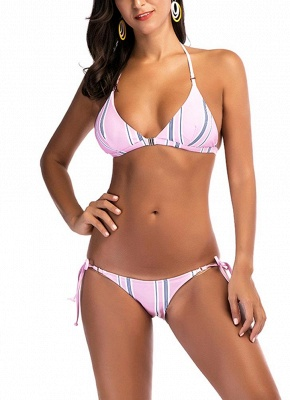 Women Sexy Bikini Set Striped Print Padded Top Bottom Beach Swimwear Swimsuit Bathing Suit_1
