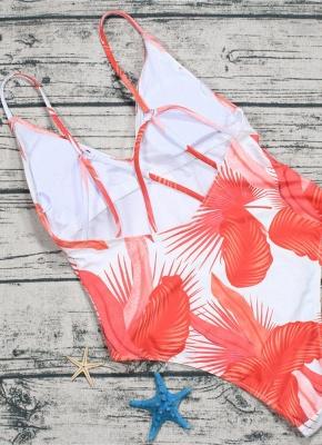 Leaf Print V Neck Backless Sleeveless One Piece Swimsuit_6