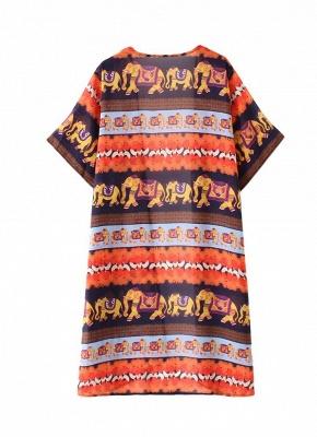 Summer Cardigan Elephant Print Boho Loose Women's Kimono_4