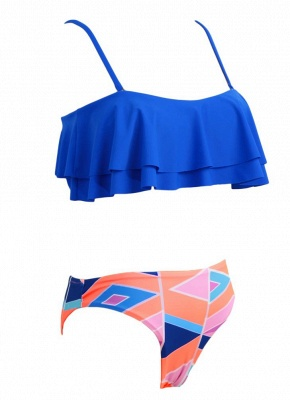 s Removable Strap Ruffled Padded Top Geometric Print Bottom Bandeau Sexy Bikini_5