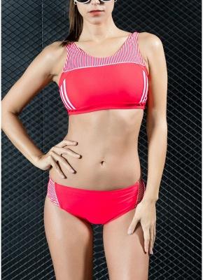 Women Sporty Sexy Bikini Set Striped Cropped Tank Top Two Pieces Swimsuit_1