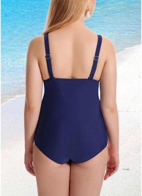 Women Plus Size One Piece Swimsuit Vintage Print Padded Monokini  Swimwear_4