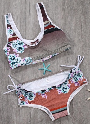 Women Sexy Bikini Set Floral Geometric Print Lace-Up Wireless Swimwear Swimsuits Two Piece Beach Wear_6