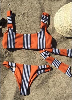 Striped Back Knot Sexy Bikini Set_5