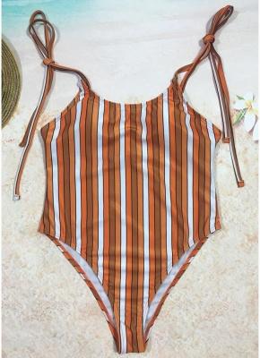 Women One Piece Swimsuit  Print Bodysuit Bandage Beach Wear Swimwear Backless Monokini_2